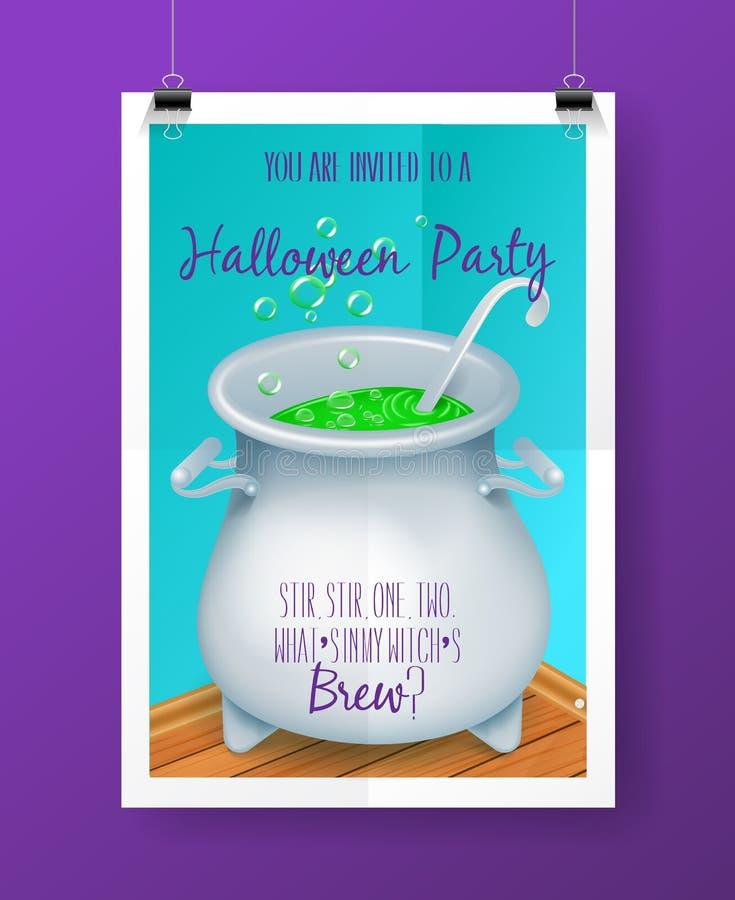 Vector плакат приглашения партии хеллоуина с ярлыком приветствиям литерности руки иллюстрация штока