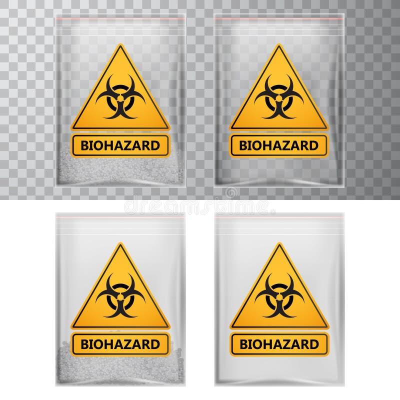Vector пластичный пакет с знаком отравы и biohazard, прозрачными элементами иллюстрация вектора