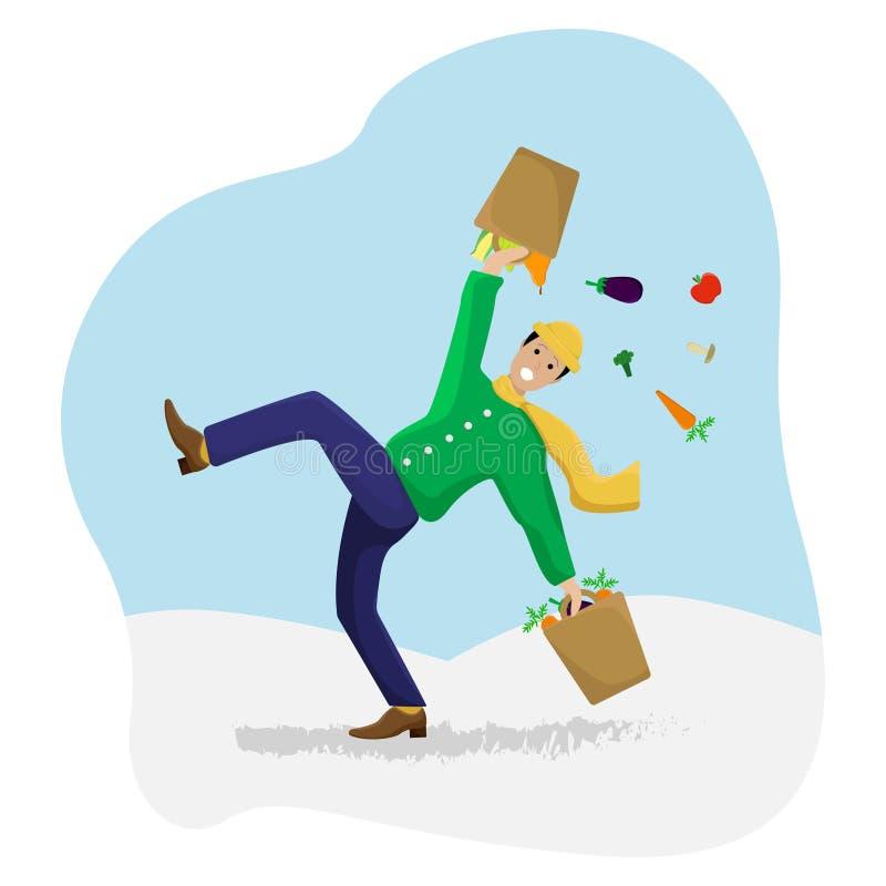 Vector плоская иллюстрация с смещенным человеком с покупками на льде бесплатная иллюстрация