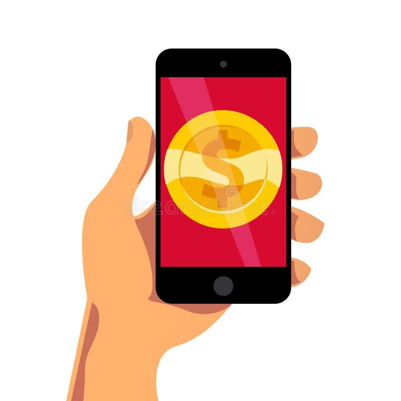 Vector плоская иллюстрация с smartphone человеческой руки dolding с золотой монеткой на своем экране изолированном на белой предп бесплатная иллюстрация