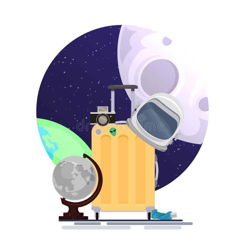 Vector плоская иллюстрация чемодана туристов космоса с шлемом астронавтов, глобусом луны и камерой на иллюстрации космоса иллюстрация штока