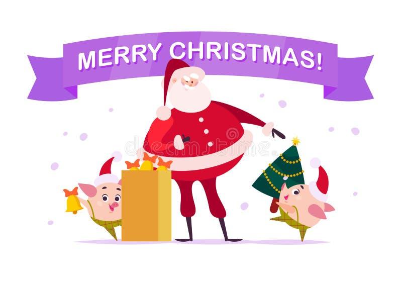 Vector плоская с Рождеством Христовым иллюстрация с Санта Клаусом, милым эльфом свиньи с колоколом, снесите украшенную ель Нового бесплатная иллюстрация