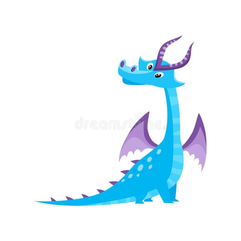 Vector плоский дракон шаржа с рожками, крылами бесплатная иллюстрация