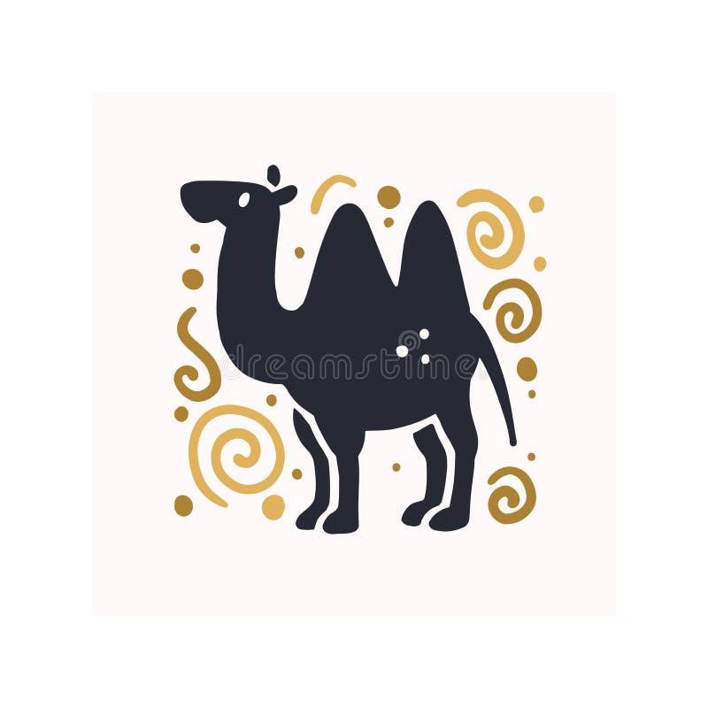 Vector плоской милой смешной нарисованный рукой силуэт верблюда животный изолированный на белой предпосылке бесплатная иллюстрация