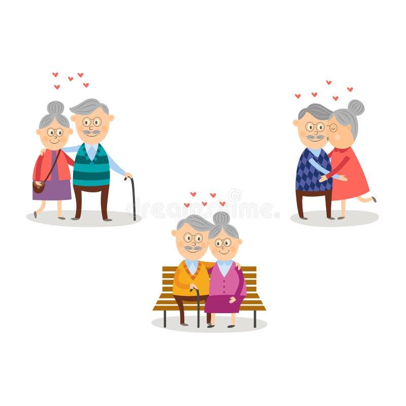 Vector пожилые пары в влюбленности, комплекте дня ` s валентинки иллюстрация штока