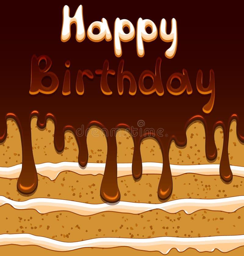 Vector поздравительая открытка ко дню рождения на предпосылке с помадкой иллюстрация вектора