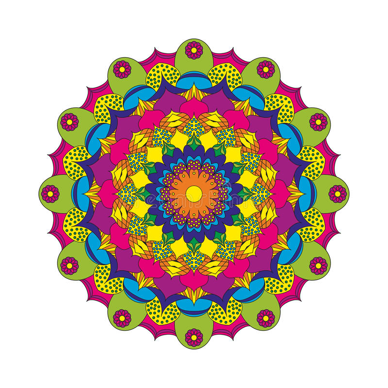 Vector покрашенный цветок мандалы картины взрослой книжка-раскраски круговой - флористическая предпосылка иллюстрация вектора