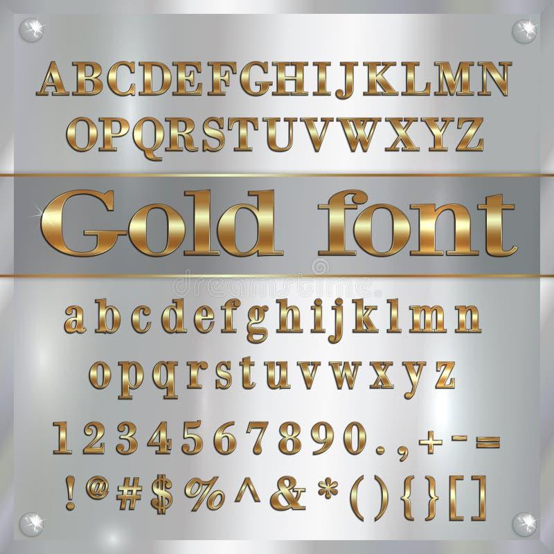 Vector покрытые золотом письма, числа и пунктуация алфавита на серебряной предпосылке иллюстрация штока