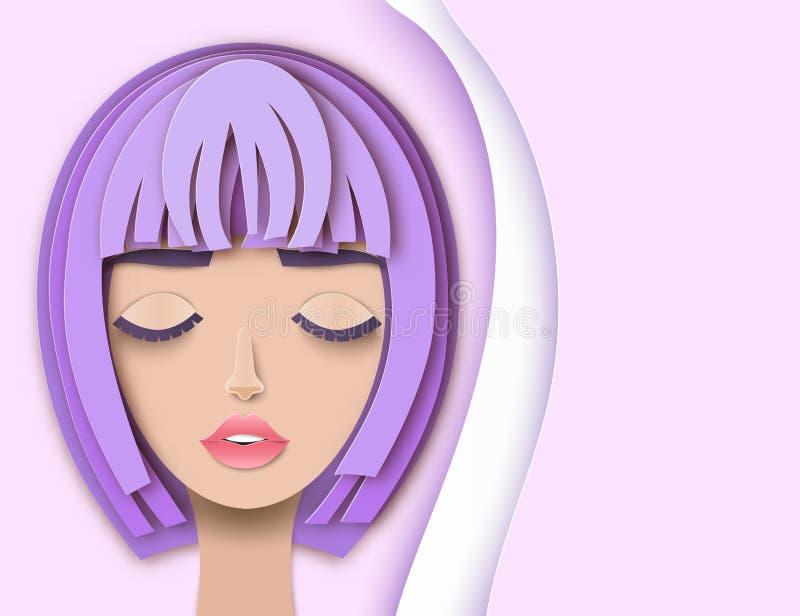 Vector портрет молодой красивой женщины с короткими волосами иллюстрация штока