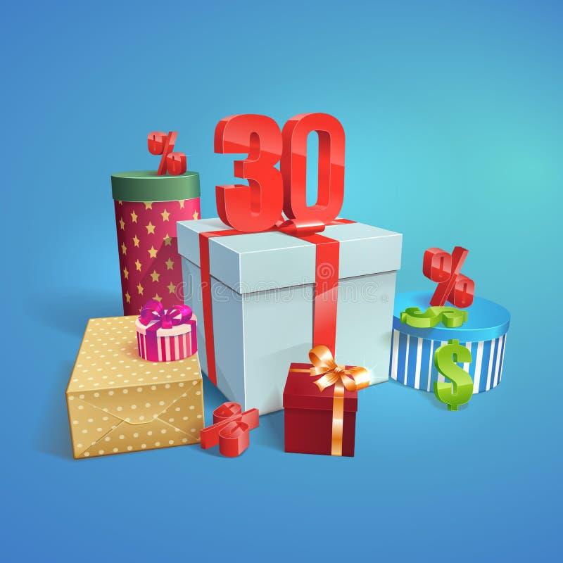 Vector подарочные коробки с символом скидок 30% иллюстрация штока