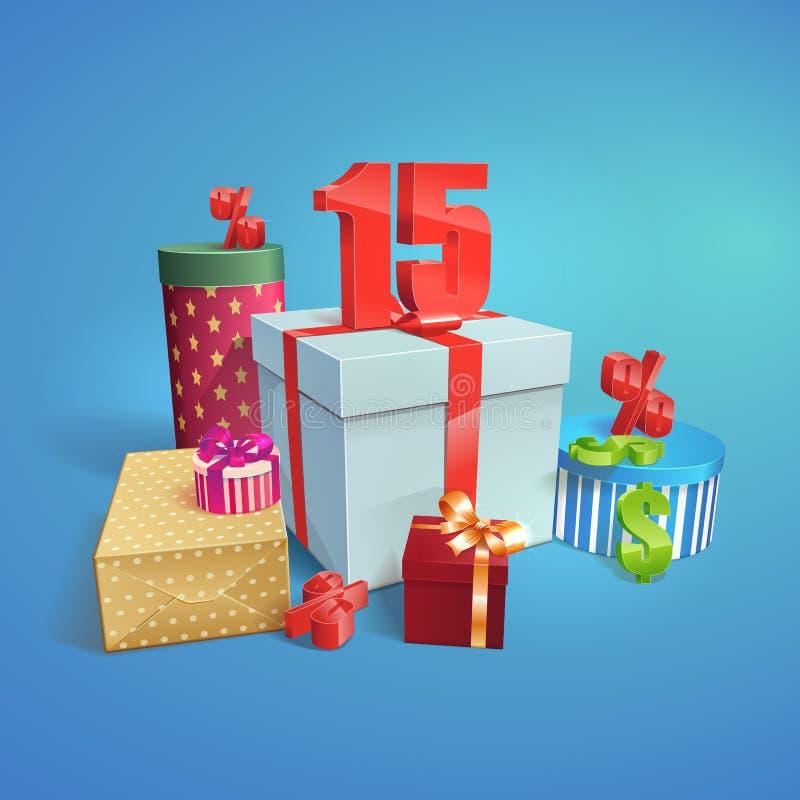 Vector подарочные коробки с символом скидок 15% иллюстрация штока