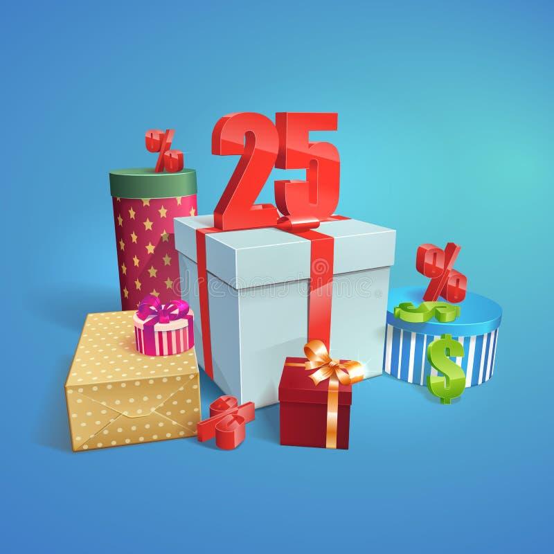 Vector подарочные коробки с символом скидок 25% иллюстрация штока