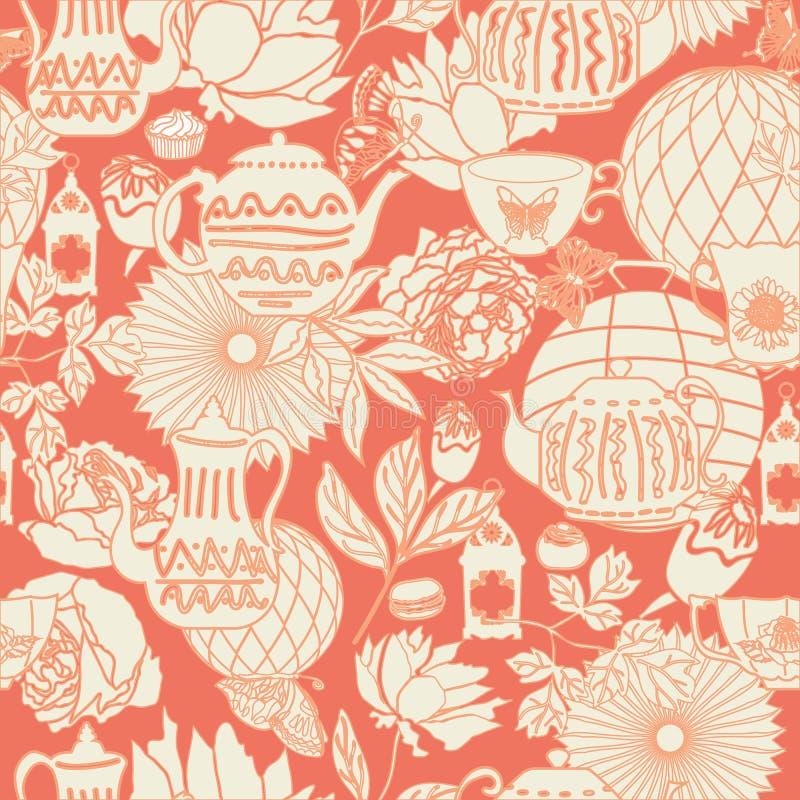 Vector предпосылка картины персика и белого винтажного чаепития сада безшовная в расположении цветка похожем на сад иллюстрация вектора