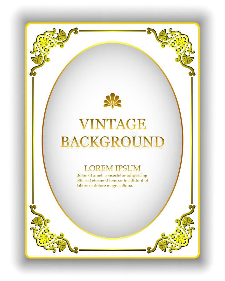 Vector предпосылка шаблона винтажная белая с рамкой золота королевской Модель-макет для того чтобы создать приглашения, поздравит бесплатная иллюстрация