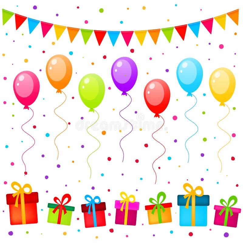 Vector предпосылка партии с красочными воздушными шарами, флагами и подарками иллюстрация вектора