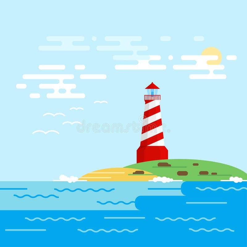 Vector предпосылка с маяком, морем, волнами в дневном времени иллюстрация штока