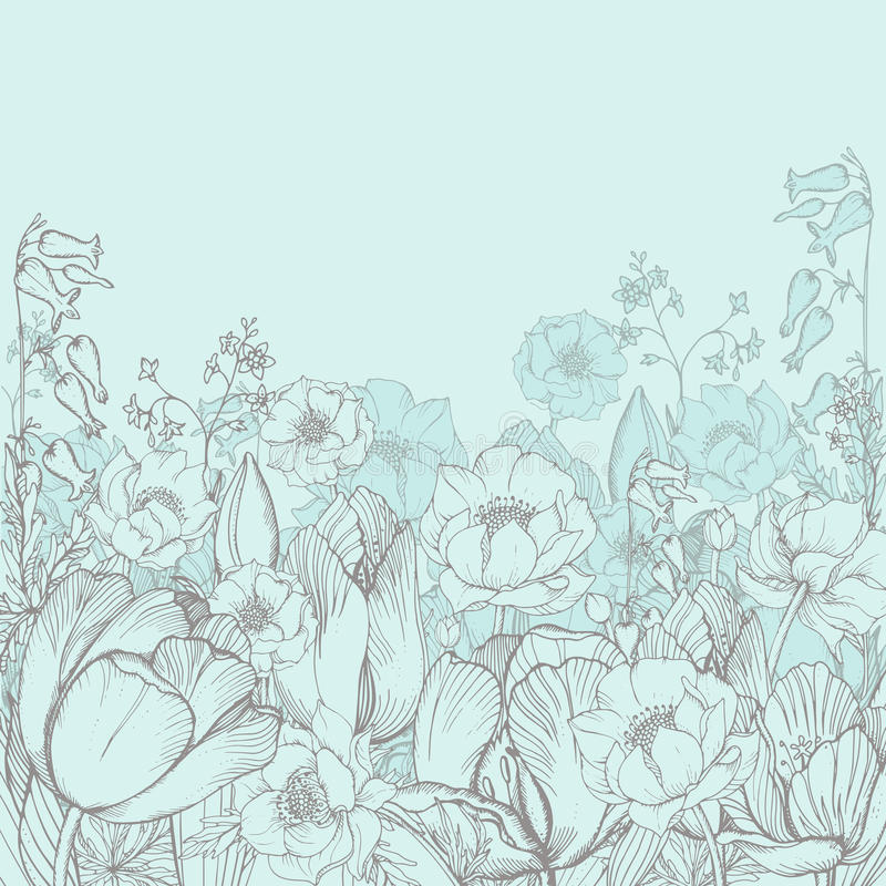 Vector предпосылка элегантности флористическая с графическими цветками весны иллюстрация вектора
