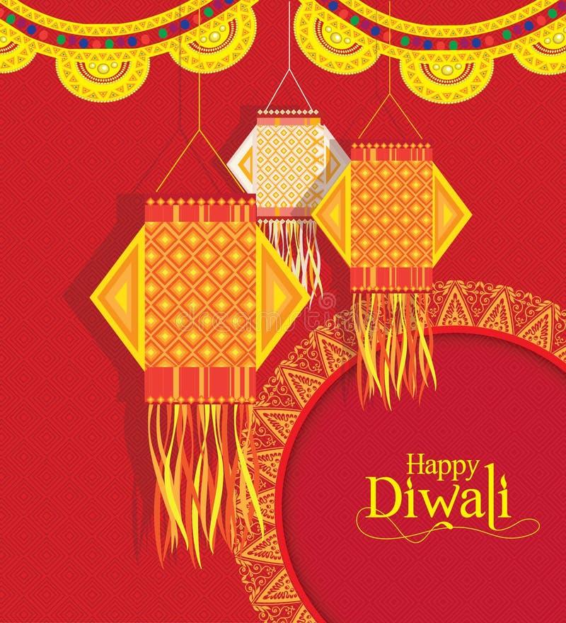 Vector предпосылка для фестиваля diwali с лампами смертной казни через повешение бесплатная иллюстрация