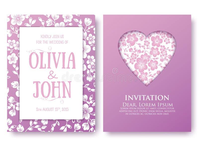Vector приглашение или свадьба, карточки с флористическими элементами Элегантные флористические абстрактные орнаменты Передняя и  бесплатная иллюстрация