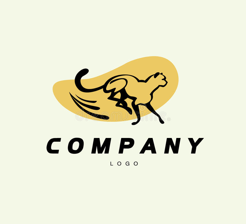 Vector простой абстрактный логотип с идущим силуэтом гепарда иллюстрация вектора