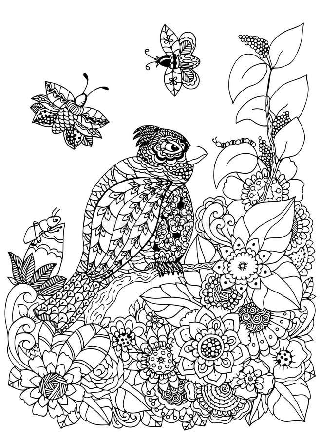 Vector птица zentangl иллюстрации на ветви в рамке цветка Чертеж Doodle Медитативные тренировки Книжка-раскраска анти- иллюстрация вектора