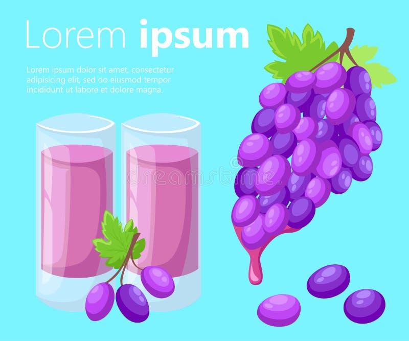 Vector пук иллюстрации виноградины виноградин вина с значком цвета лист плоским для apps и вебсайтов еды бесплатная иллюстрация