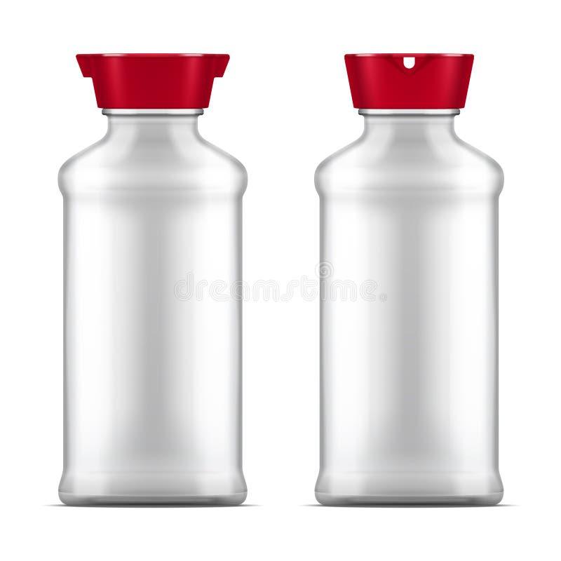 Vector пустая стеклянная бутылка соевого соуса изолированная на белой предпосылке иллюстрация штока