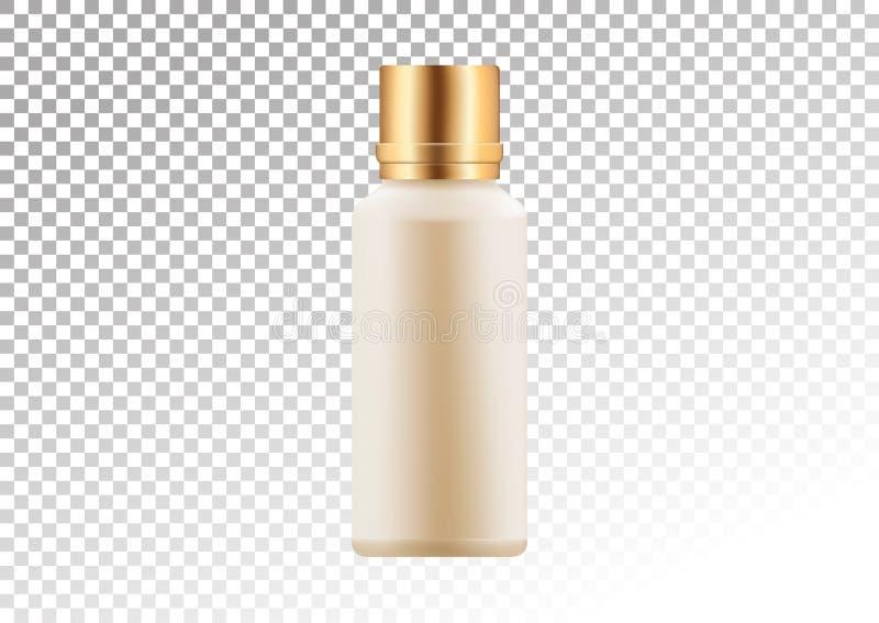 Vector пустое золото и розовый пакет для косметических продуктов трубки и бутылки для лосьона, геля ливня, шампуня, тоники Реалис иллюстрация штока