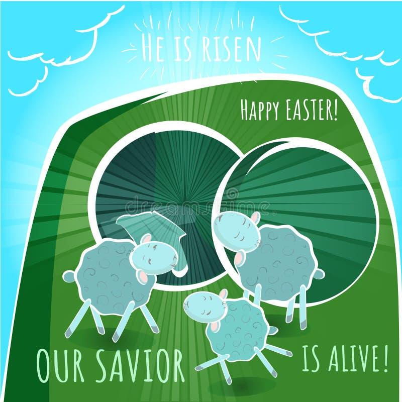Vector пустые гроб и овцы - поздравительная открытка - счастливый e иллюстрация вектора