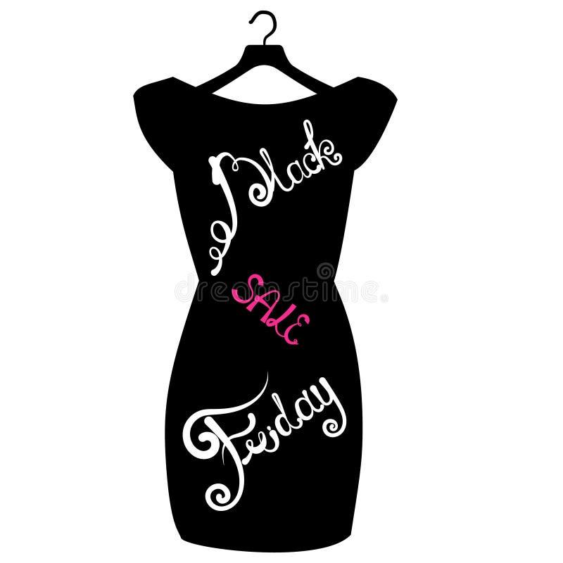 Vector плакат значка немногое черное платье - черная пятница Черная литерность пятницы на модном черном платье иллюстрация вектора