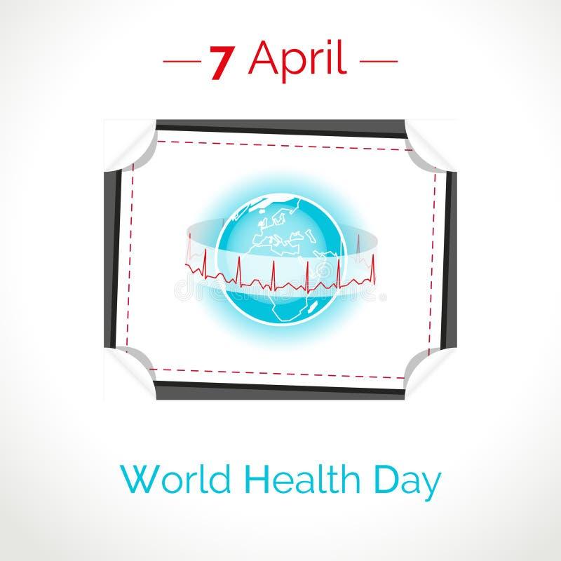 Vector плакат на 7-ое апреля, день здоровья мира иллюстрация штока