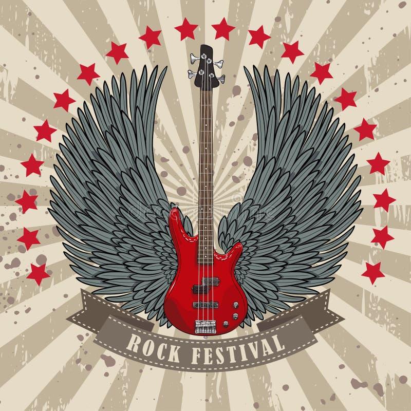 Vector плакат для фестиваля утеса с, который подогнали гитарой иллюстрация штока