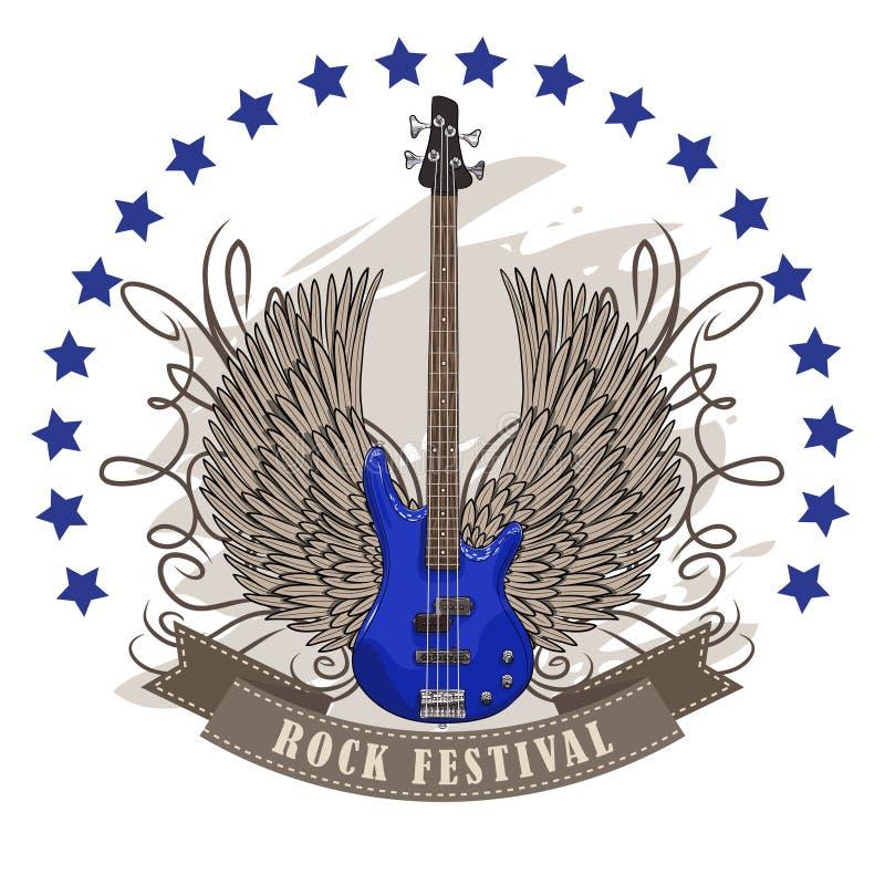 Vector плакат для фестиваля утеса с, который подогнали гитарой иллюстрация вектора