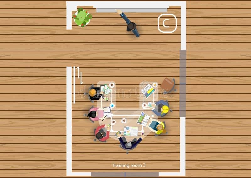 Vector план работа деловой встречи, мастерских и идей метода мозгового штурма для дизайна маркетингового плана плоского иллюстрация вектора