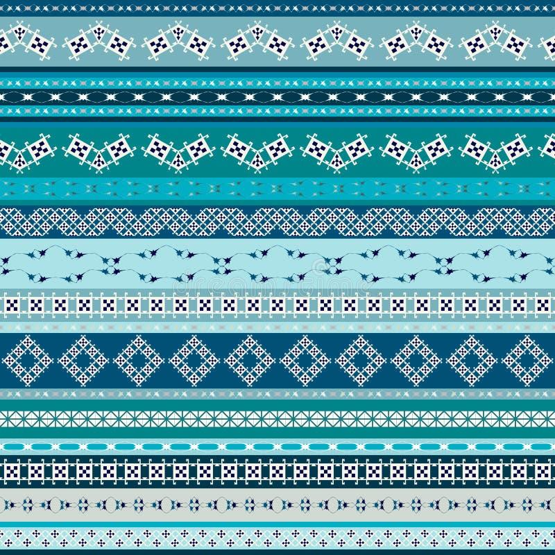 Vector племенная мексиканская этническая безшовная текстура, картина с нашивками, геометрическими треугольниками Винтажная печать бесплатная иллюстрация