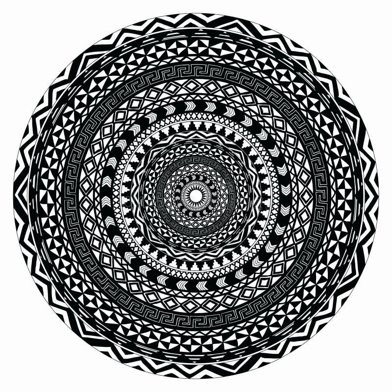 Vector племенная фольклорная ацтекская геометрическая картина в круге бесплатная иллюстрация