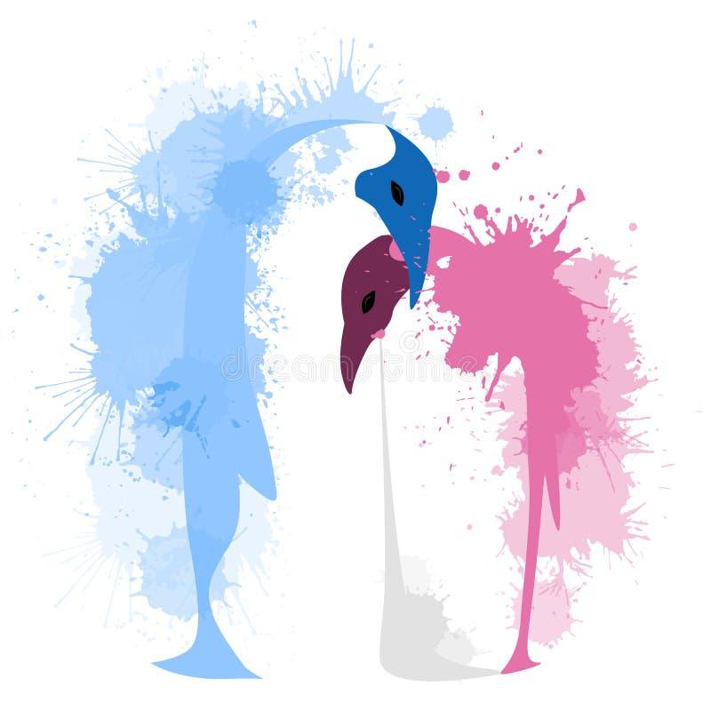Vector плоская иллюстрация пары пингвинов иллюстрация штока