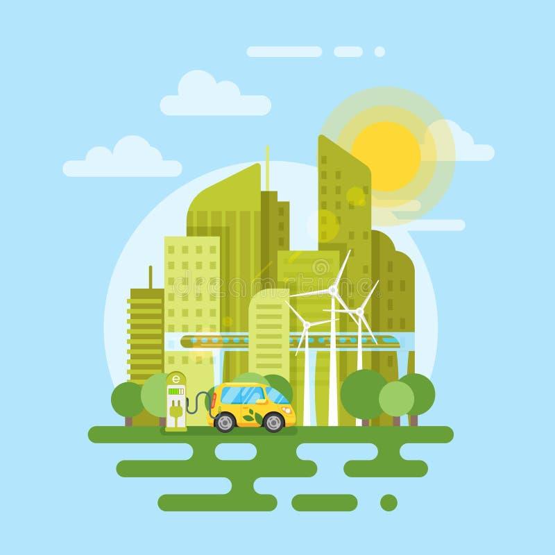 Vector плоская иллюстрация стиля электрического автомобиля в городе бесплатная иллюстрация