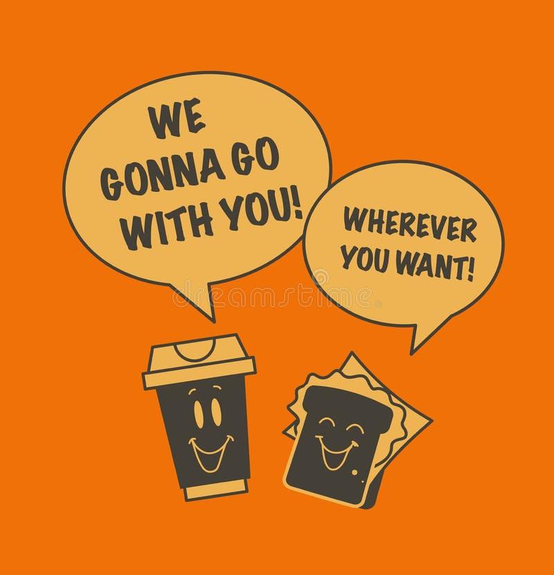 Vector плоская милая смешная иллюстрация говоря значков кофейной чашки и сандвича бесплатная иллюстрация