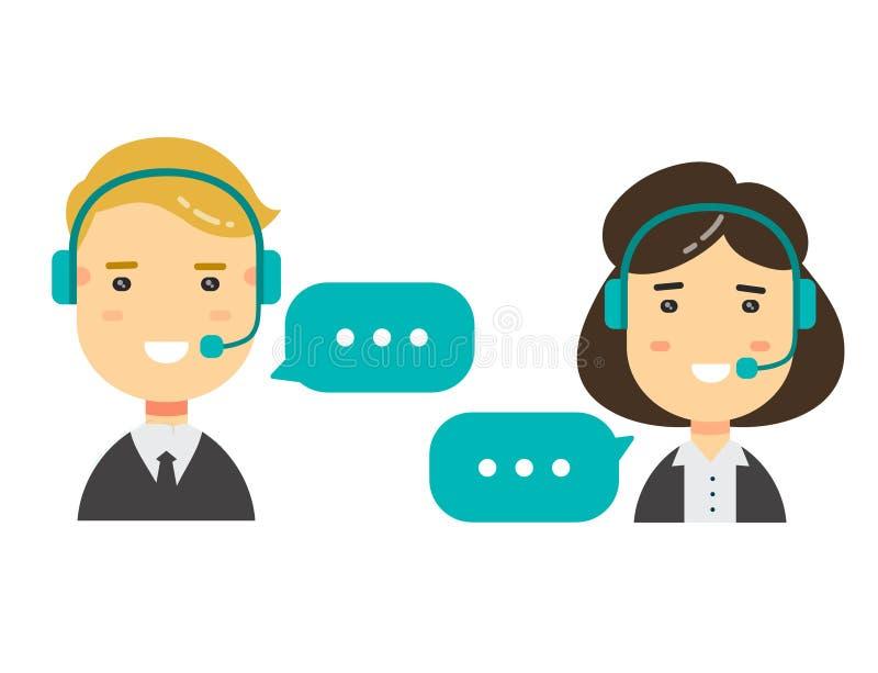 Vector плоский мужчина значков характера и женские воплощения центра телефонного обслуживания схематический сообщения иллюстрация штока