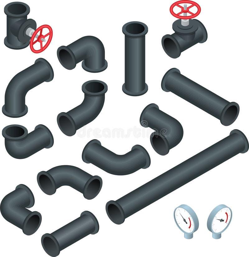 Vector плоское равновеликое собрание иллюстрации 3d детальных труб частей конструкции, штуцеров, запорной заслонки, faucet иллюстрация штока