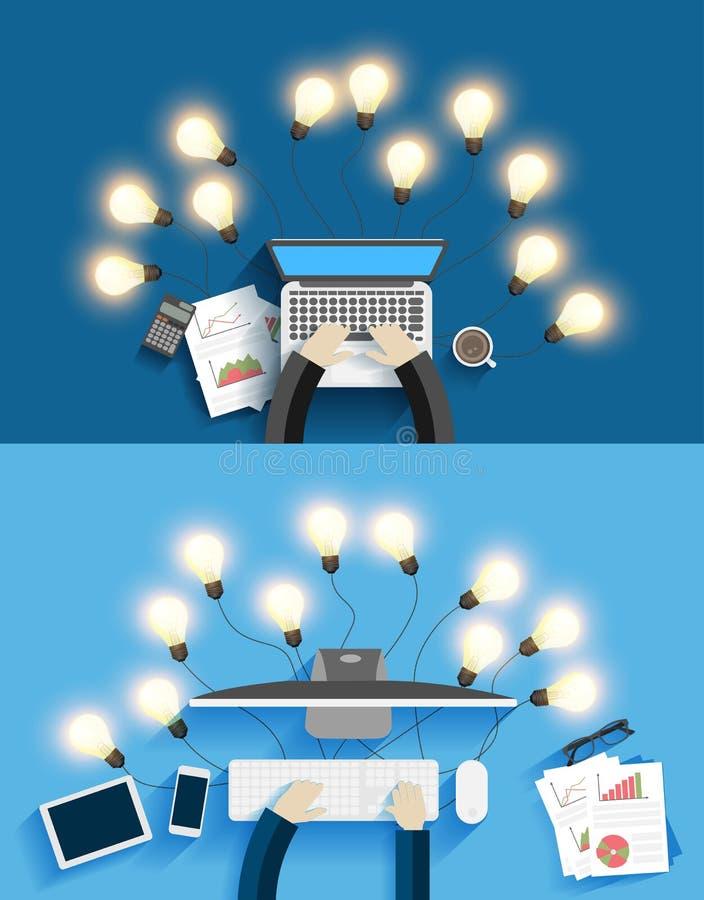Vector работа на компьютере с творческими идеями электрической лампочки бесплатная иллюстрация
