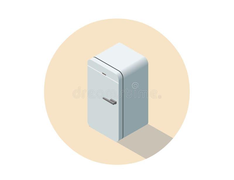 Vector равновеликая иллюстрация холодильника, плоского холодильника 3d иллюстрация штока