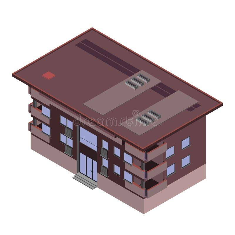 Vector равновеликий значок или infographic элементы представляя низкую поли квартиру городка, офисное здание с окнами и крышу для иллюстрация штока