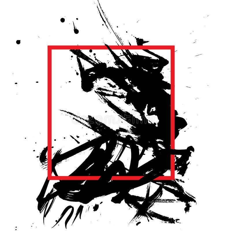 Vector рамка для текста с черными пятнами grunge японский тип иллюстрация штока