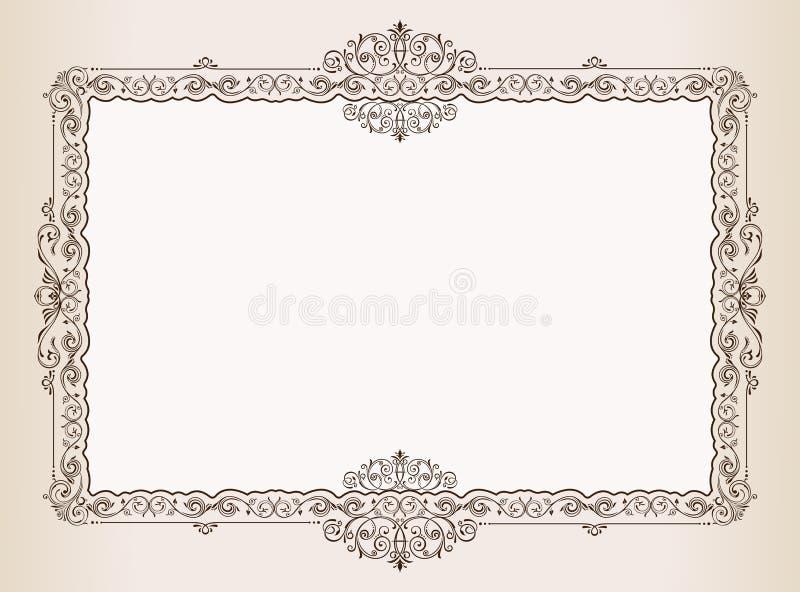 Vector рамка сбора винограда. орнаментирует королевский документ иллюстрация штока