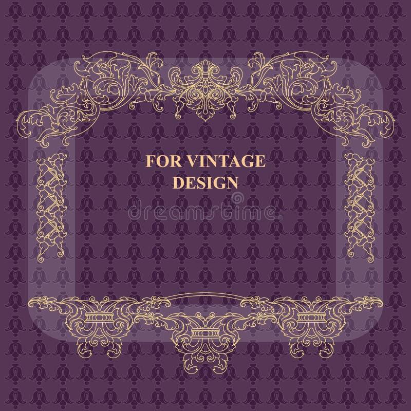 Vector рамка с флористическим орнаментом на фиолетовой предпосылке бесплатная иллюстрация
