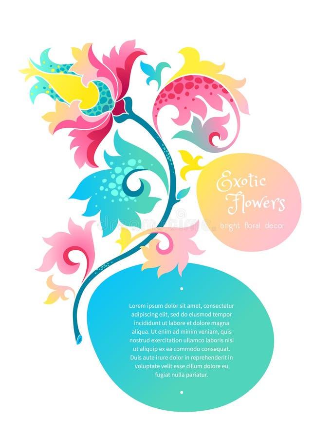 Vector рамка с экзотическими цветками в китайском стиле бесплатная иллюстрация