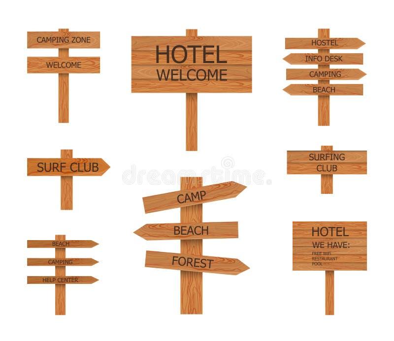 Vector располагаясь лагерем деревянные знаки собрание, указатель пляжа, иллюстрации иллюстрация вектора