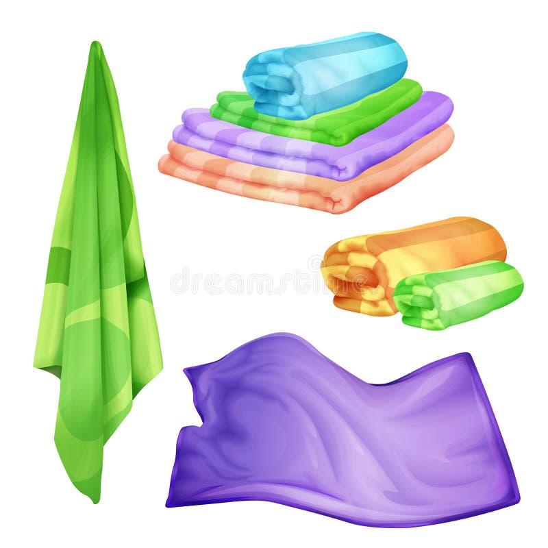 Vector реалистическая ванная комната, курорт покрашенный комплект полотенца иллюстрация вектора